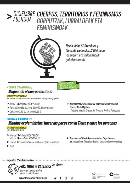 taller y curso sobre defensa de cuerpos y territorios en vitoria